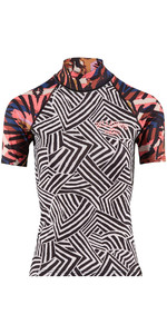2018 Billabong Womens Surf Capsule Short Sleeve Rash Vest MULTI H4GY05
