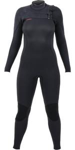 2021 O'Neill Womens Hyperfreak+ 4/3mm Chest Zip Wetsuit Black 5349