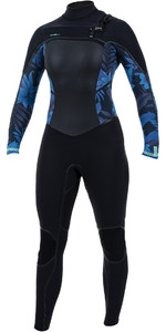 2019 O'Neill Womens Psycho Tech 5/4+mm Chest Zip Wetsuit Black / Blue Faro 5367