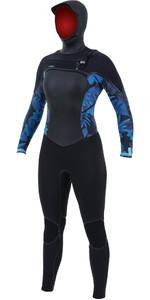 2019 O'Neill Womens Psycho Tech 6/4mm Chest Zip Hooded Wetsuit Black / Blue Faro 5368
