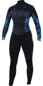 2020 O'Neill Womens Psycho Tech+ 4/3mm Chest Zip Wetsuit Black / Blue Faro 5339