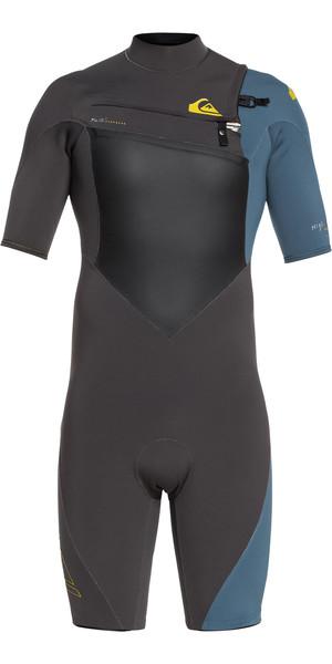 2019 Quiksilver Highline Plus 2mm Chest Zip Shorty Wetsuit Black / Blue Steel EQYW503008
