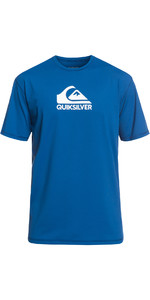2019 Quiksilver Solid Streak Short Sleeve T-Shirt fit Rash Vest Electric Blue EQYWR03159