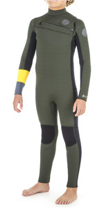 2019 Rip Curl Junior Boys Aggrolite 4/3mm Chest Zip Wetsuit Khaki WSM8LB
