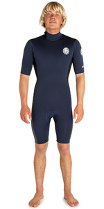 2019 Rip Curl Mens Aggrolite 2mm Back Zip Spring Shorty Wetsuit NAVY / Black WSP6AM