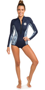 2019 Rip Curl Womens G-Bomb 1mm Long Sleeve Shorty Wetsuit Blue / White WSP7LW
