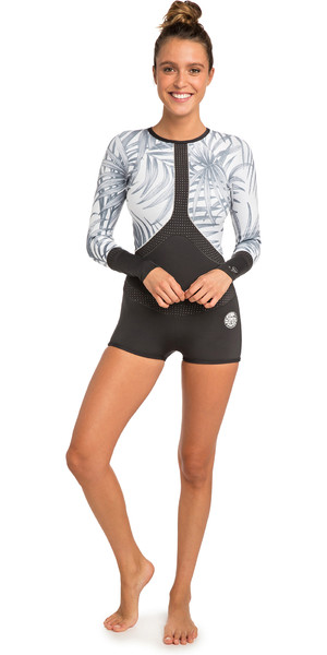 2019 Rip Curl Womens Madi 1mm Long Sleeve Boyleg Shorty Wetsuit Off White WSP7CW