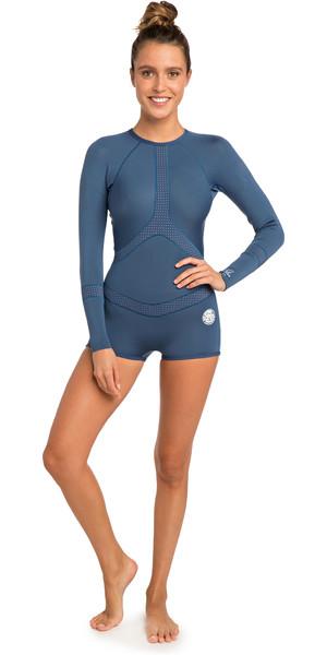 2019 Rip Curl Womens Madi 1mm Long Sleeve Boyleg Shorty Wetsuit White / Blue WSP7OW