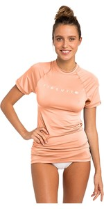 2019 Rip Curl Womens Sunny Rays Relaxed Short Sleeve Rash Vest Peach WLY6MW
