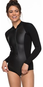2019 Roxy 2mm Satin Long Sleeve Cheeky Spring Shorty Wetsuit Black ERJW403018