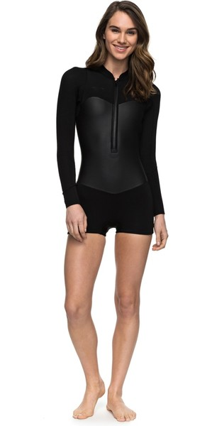 2019 Roxy 2mm Satin Long Sleeve Spring Shorty Wetsuit Black ERJW403010