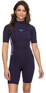 2019 Roxy Womens 2mm Syncro Back Zip Spring Shorty Wetsuit Blue Ribbon ERJW503007