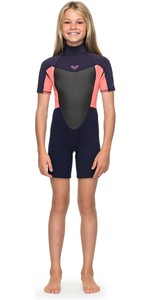 2020 Roxy Girls 2mm Prologue Back Zip Shorty Blue Ribbon / Coral ERGW503008