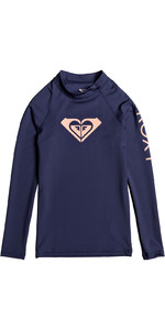 2019 Roxy Girls Wholehearted Long Sleeve Rash Vest Medieval Blue ERGWR03081