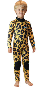 2020 Saltskin Junior 3/2mm Back Zip Wetsuit - Leopard