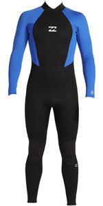 2020 Billabong Junior Boys Intruder 3/2mm Back Zip Flatlock Wetsuit 043B19 - Blue
