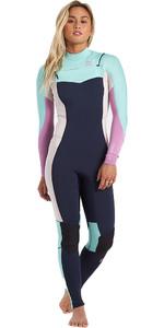 2021 Billabong Womens Synergy 4/3mm Chest Zip GBS Wetsuit U44G34 - Navy