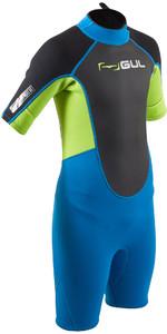 2020 GUL Junior Response 3/2mm Back Zip Shorty Wetsuit RE3322-B7 - Blue / Lime
