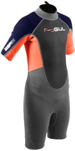 2020 GUL Junior Response 3/2mm Back Zip Shorty Wetsuit RE3322-B7 - Grey / Orange