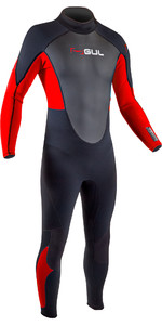 2020 GUL Mens Response 3/2mm Back Zip Wetsuit RE1321-B7 - Black / Red