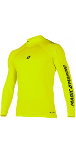 2020 Magic Marine Mens Cube Long Sleeve Rash Vest 180041 - Flash Yellow
