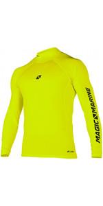 2020 Magic Marine Mens Cube Long Sleeve Rash Vest 180041 - Flash Yellow