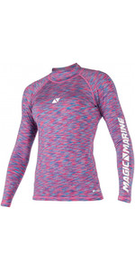 2021 Magic Marine Womens Cube Long Sleeve Rash Vest 180043 - Blue / Pink Melee