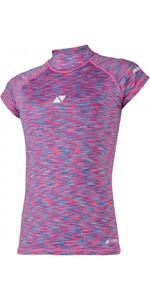 2021 Magic Marine Womens Cube Short Sleeve Rash Vest 180044 - Blue / Pink Melee