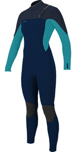 2021 O'Neill Womens Hyperfreak+ 5/4mm Chest Zip Wetsuit 5374 - Abyss / Turquoise