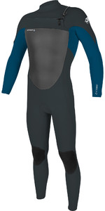 2020 O'Neill Mens Epic 4/3mm Chest Zip Wetsuit 5354 - Gunmetal / Ultra Blue
