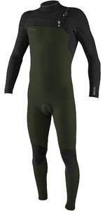 2020 O'Neill Mens HyperFreak+ 4/3mm Chest Zip Wetsuit 5344 - Ghost Green / Black