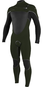 2020 O'Neill Mens Psycho Tech 5/4+mm Chest Zip Wetsuit 5365 - Ghost Green / Black