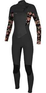 2021 O'Neill Womens Epic 5/4mm Chest Zip GBS Wetsuit 5371 - Black / Flo