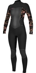 2021 O'Neill Womens Psycho Tech+ 4/3mm Chest Zip Wetsuit 5339 - Black / Flo