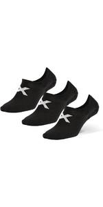 2021 2XU Invisible Socks 3 Pack UQ6550e - Black