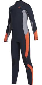 2021 Billabong Junior Absolute 4/3mm Chest Zip GBS Wetsuit U44B13 - Navy