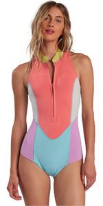 2021 Billabong Womens Salty Daze 2mm Sleeveless Shorty Wetsuit W42G55 - Neon Daze