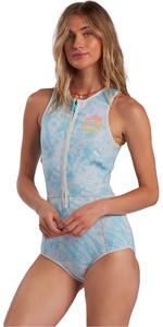 2021 Billabong Womens Sol Sistah 2mm Shorty Wetsuit W42G52 - Island Blue Neo