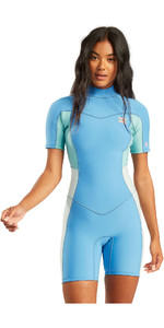 2021 Billabong Womens Synergy 2mm Back Zip Shorty Wetsuit W42G60 - Maui Blue