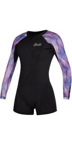 2021 Mystic Womens Diva 2mm Long Sleeve Shorty Wetsuit 200071 - Black / Purple
