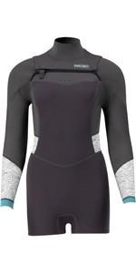 2021 Prolimit Womens Fire Sunset 3/2mm Long Sleeve Freezip Shorty Wetsuit 15075 - Black / Ivory