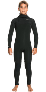 2021 Quiksilver Boys Sessions 4/3mm Chest Zip Hooded Wetsuit EQBW203005 - Black