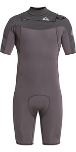 2021 Quiksilver Mens Syncro 2mm Chest Zip Shorty Wetsuit EQYW503023 - Jet Black / Charcoal