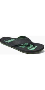 2021 Reef Newport Prints Flip Flops CI3752 - Palms Black