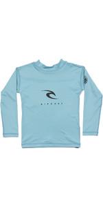2021 Rip Curl Grom Boys Corp Long Sleeve UV Rash Vest WLY3CO - Blue