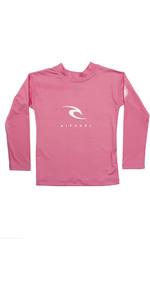 2021 Rip Curl Grom Boys Corp Long Sleeve UV Rash Vest WLY3CO - Pink