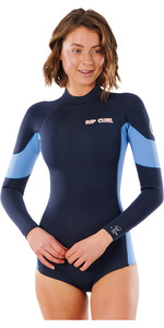 2021 Rip Curl Women G Bomb 2mm Long Sleeve Back Zip Shorty Wetsuit WSP3TW - Slate