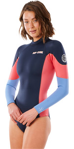 2021 Rip Curl Womens G Bomb 1mm Long Sleeve Back Zip Shorty Wetsuit WSP3BW - Slate