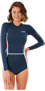 2021 Rip Curl Women Golden State Rib Back Zip Surf Suit WLY3WW - Navy