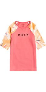 2021 Roxy Girls Printed Lycra Short Sleeve Rash Vest ERGWR03241 - Salmon Buff / Picolo